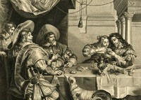 Engraved illustration of 'The Duke of Buckingham, the Earl of Bristol, King Charles I and Queen Henrietta', playing cards at a table, 1632.